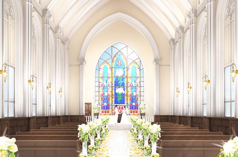 壮大なステンドグラスが輝く大聖堂挙式